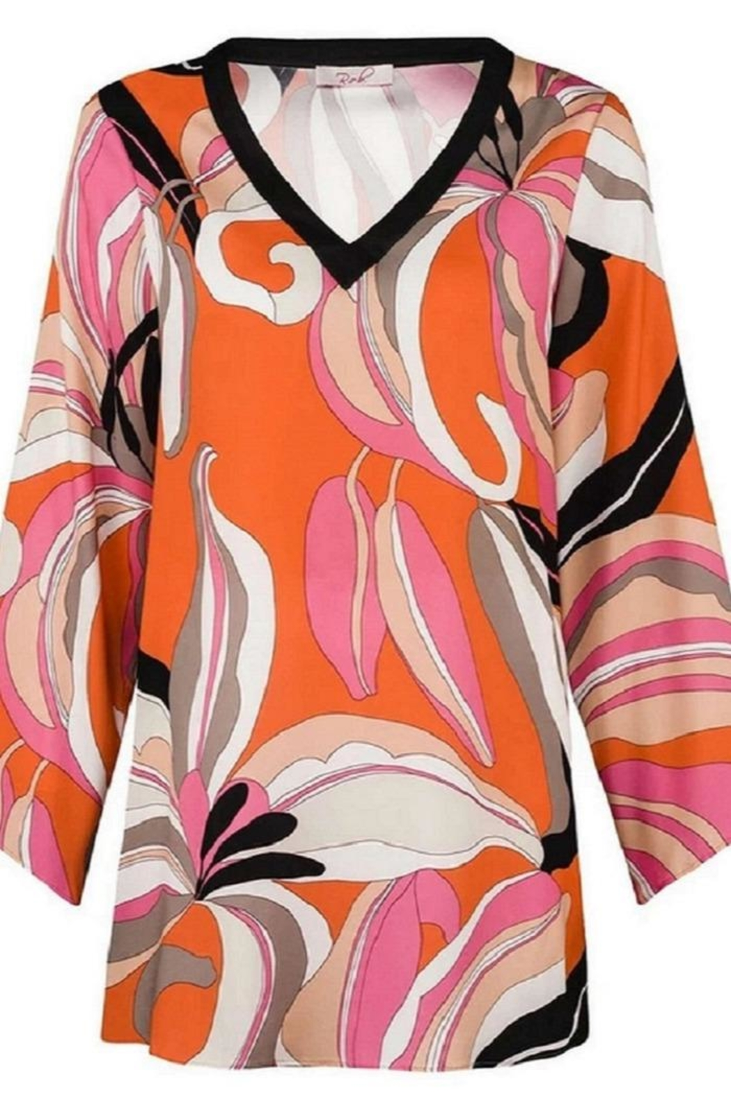 Unnown Robell – Sharon Bright Coloured Flower Long Sleeve Tunic Top - Main Image