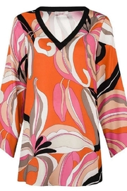 Unnown Robell – Sharon Bright Coloured Flower Long Sleeve Tunic Top - Front cropped