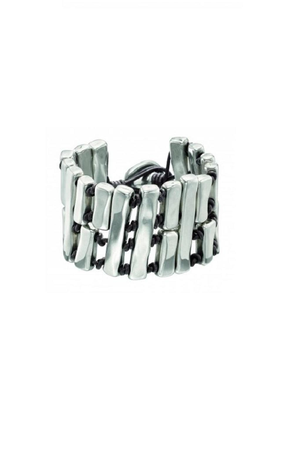 Uno de 50 Leather Silver Bracelet - Front Cropped Image