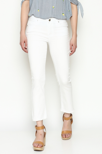 Unpublished White Crop Pants - Main Image