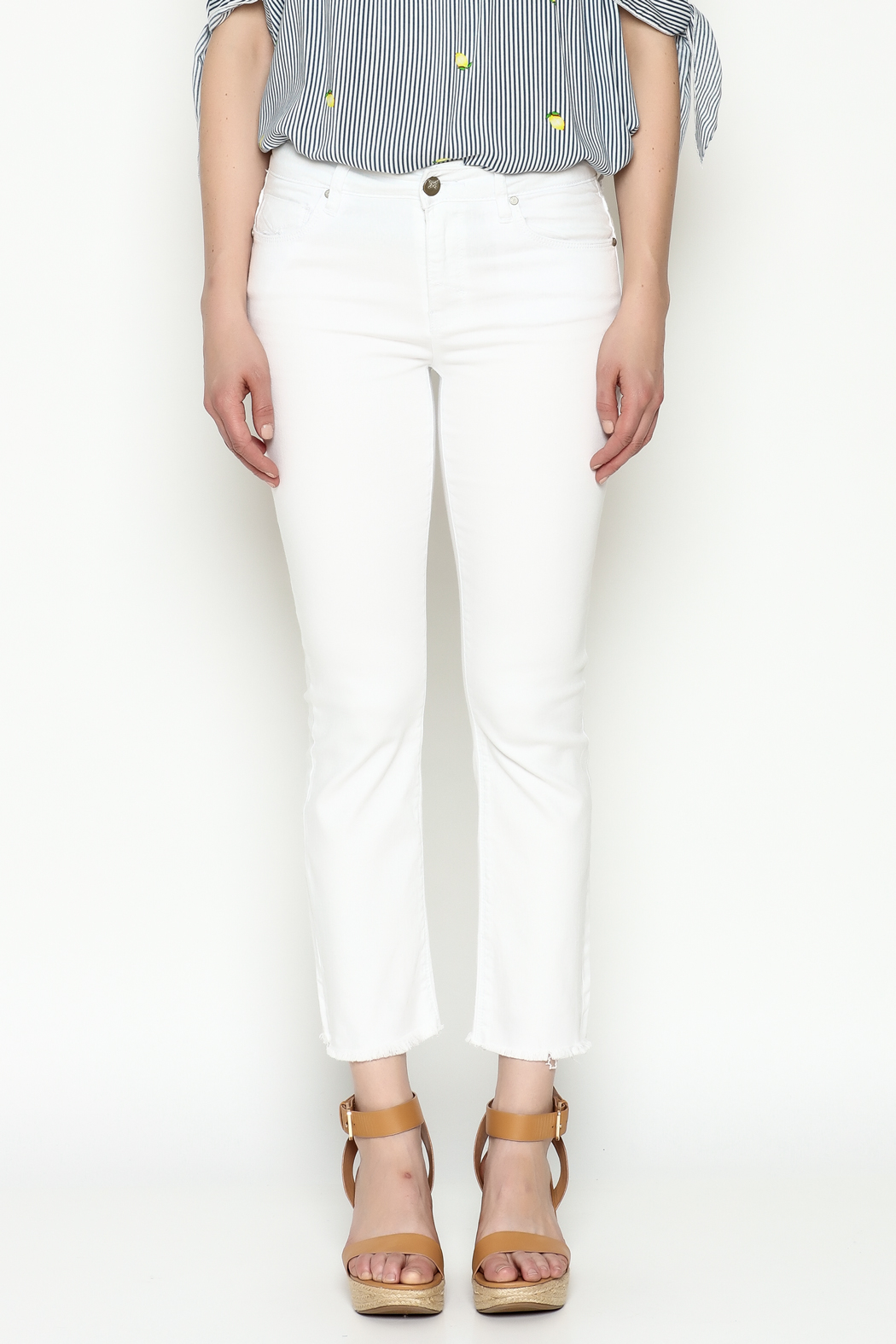 Unpublished White Crop Pants - Front Full Image