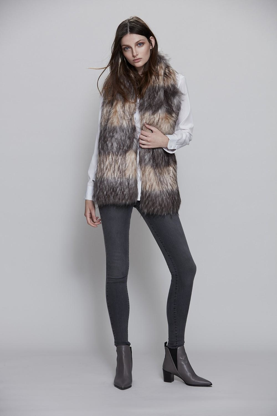 UNREAL FUR Striped Fur Scarf - Front Full Image