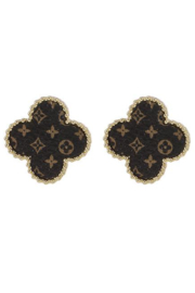 Koko and Lola  UP-Cycled Genuine LV Leather Earrings Gold Beveled Edge - Front cropped