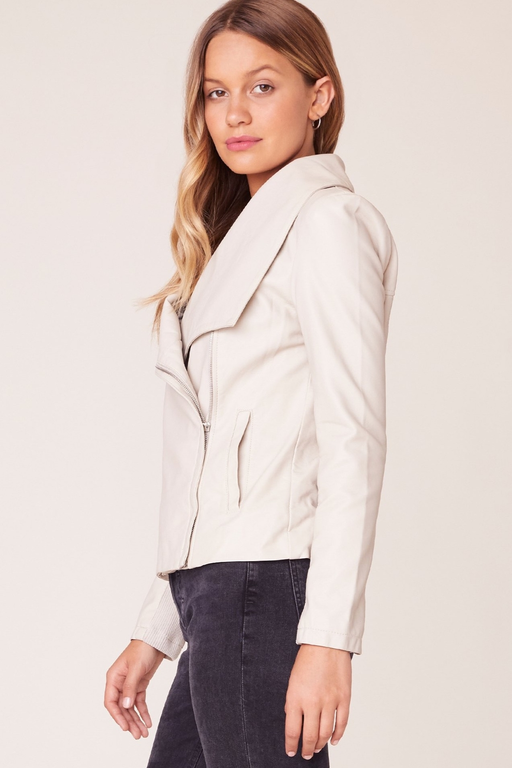 BB Dakota Up To Speed Vegan Leather Jacket - Back Cropped Image
