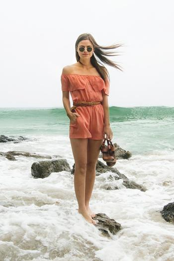 Whimsy And Row Coral Isabella Romper From California