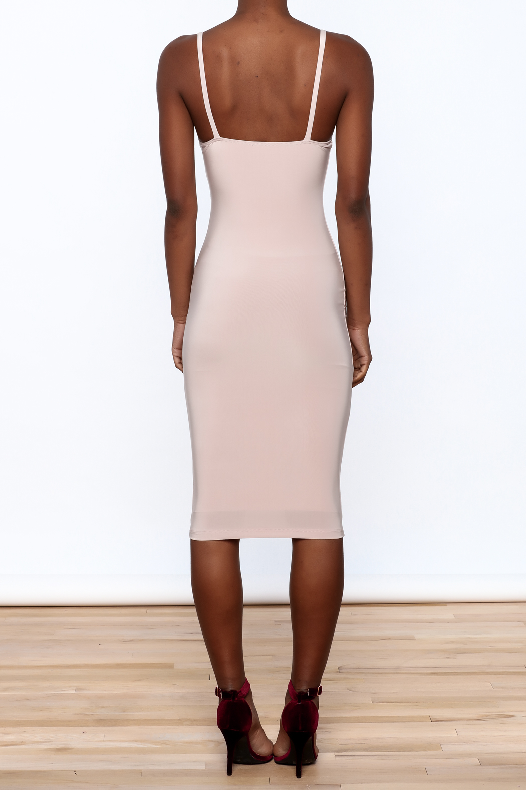 Uptown Sexy Sleeveless Bodycon Dress - Back Cropped Image