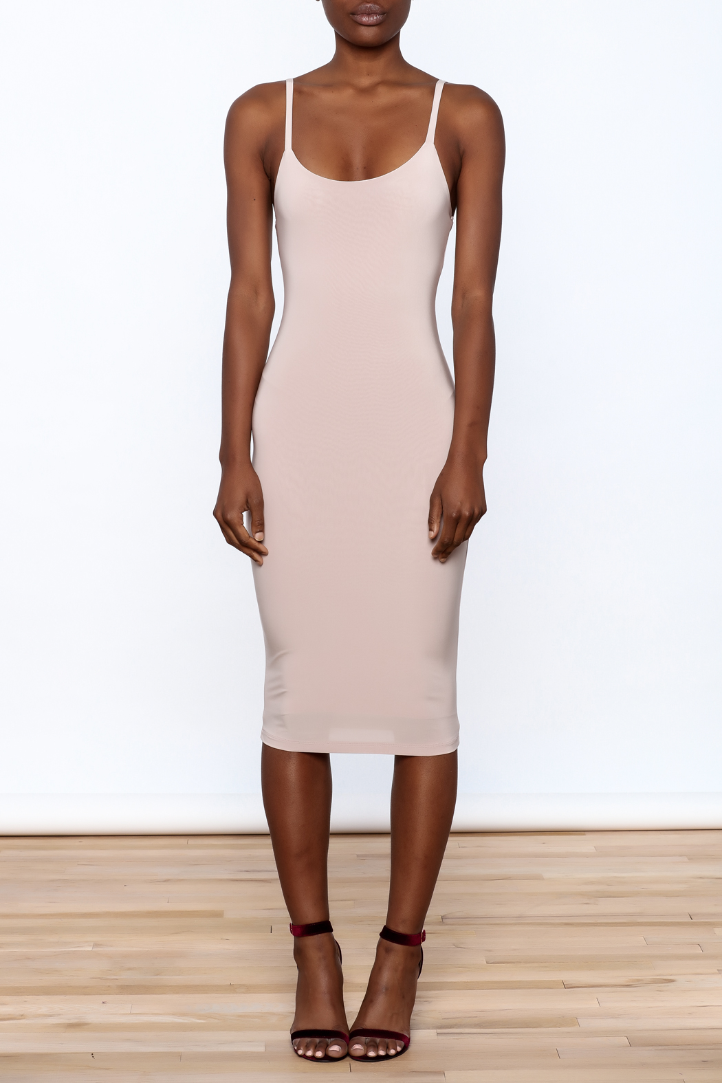 Uptown Sexy Sleeveless Bodycon Dress - Front Cropped Image