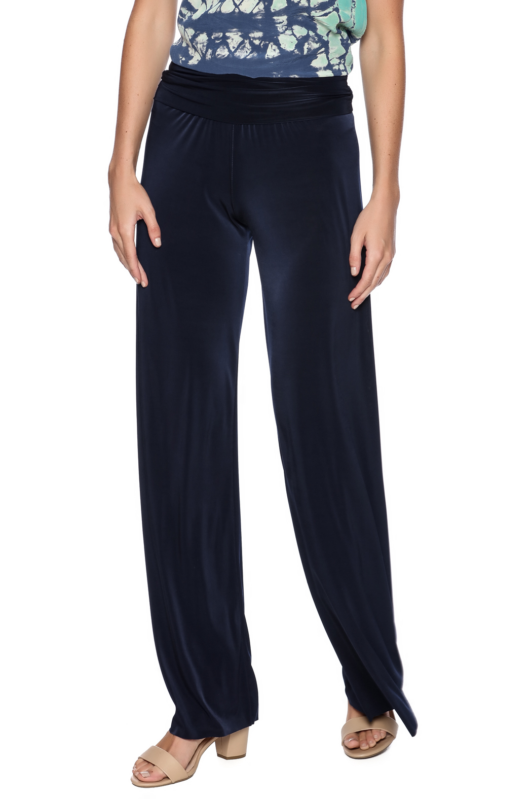 Uptown Navy Palazzo Pants - Front Cropped Image