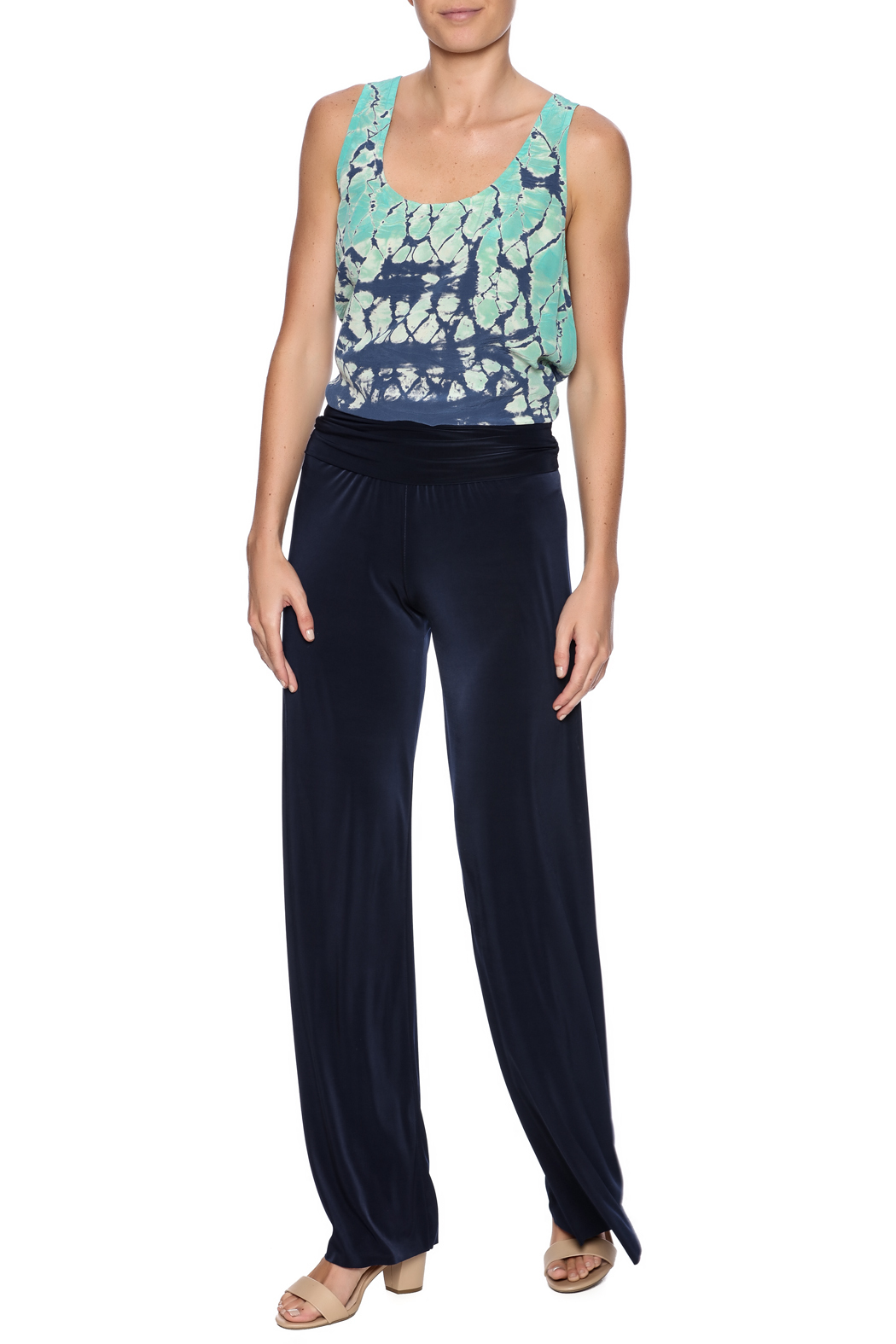 Uptown Navy Palazzo Pants - Front Full Image