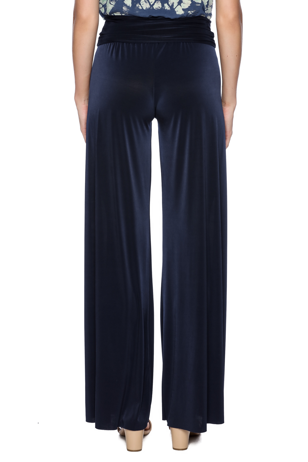 Uptown Navy Palazzo Pants - Back Cropped Image