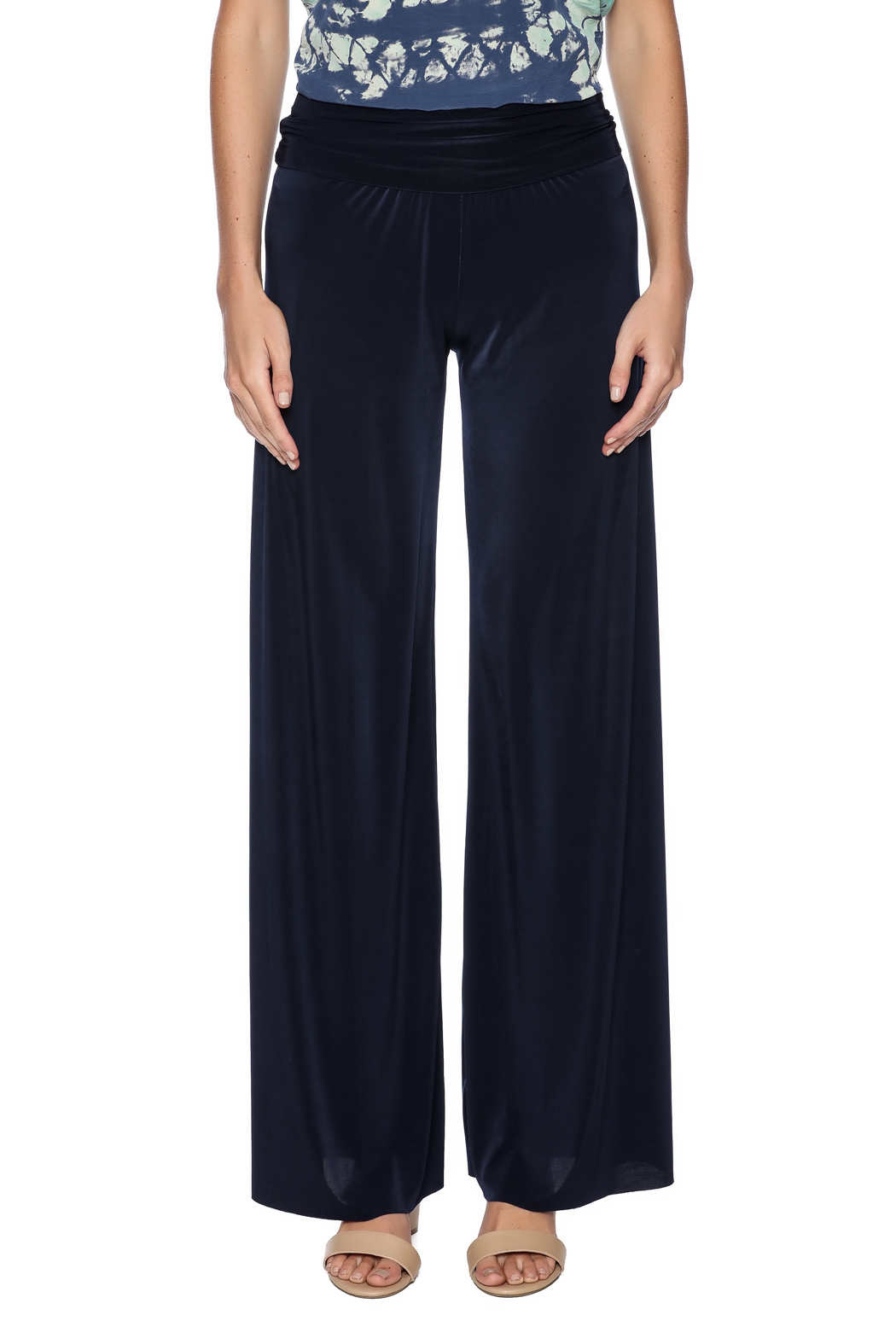 Uptown Navy Palazzo Pants - Side Cropped Image