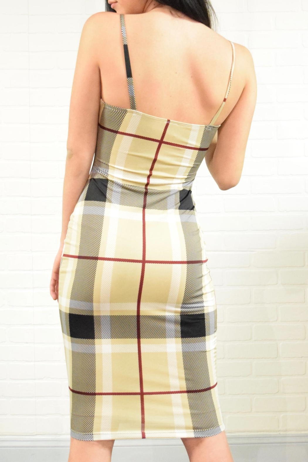 Uptown Plaid Check Dress - Back Cropped Image