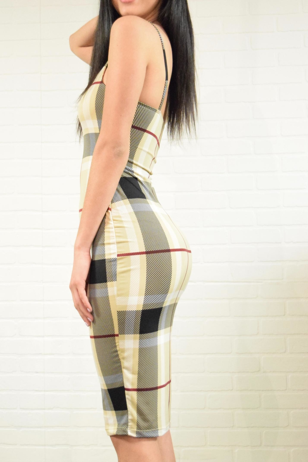 Uptown Plaid Check Dress - Side Cropped Image