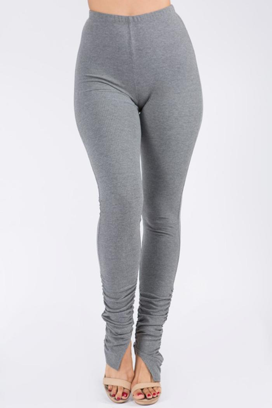 Uptown Apparel Ribbed Shirring Legging - Front Full Image