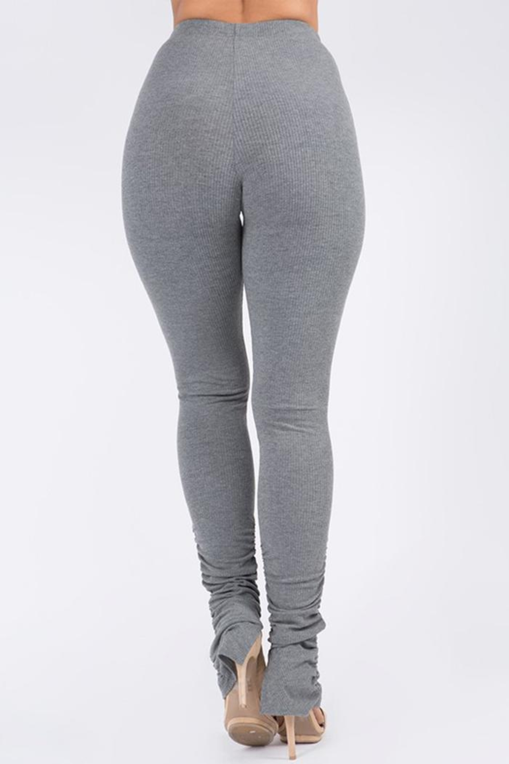Uptown Apparel Ribbed Shirring Legging - Side Cropped Image
