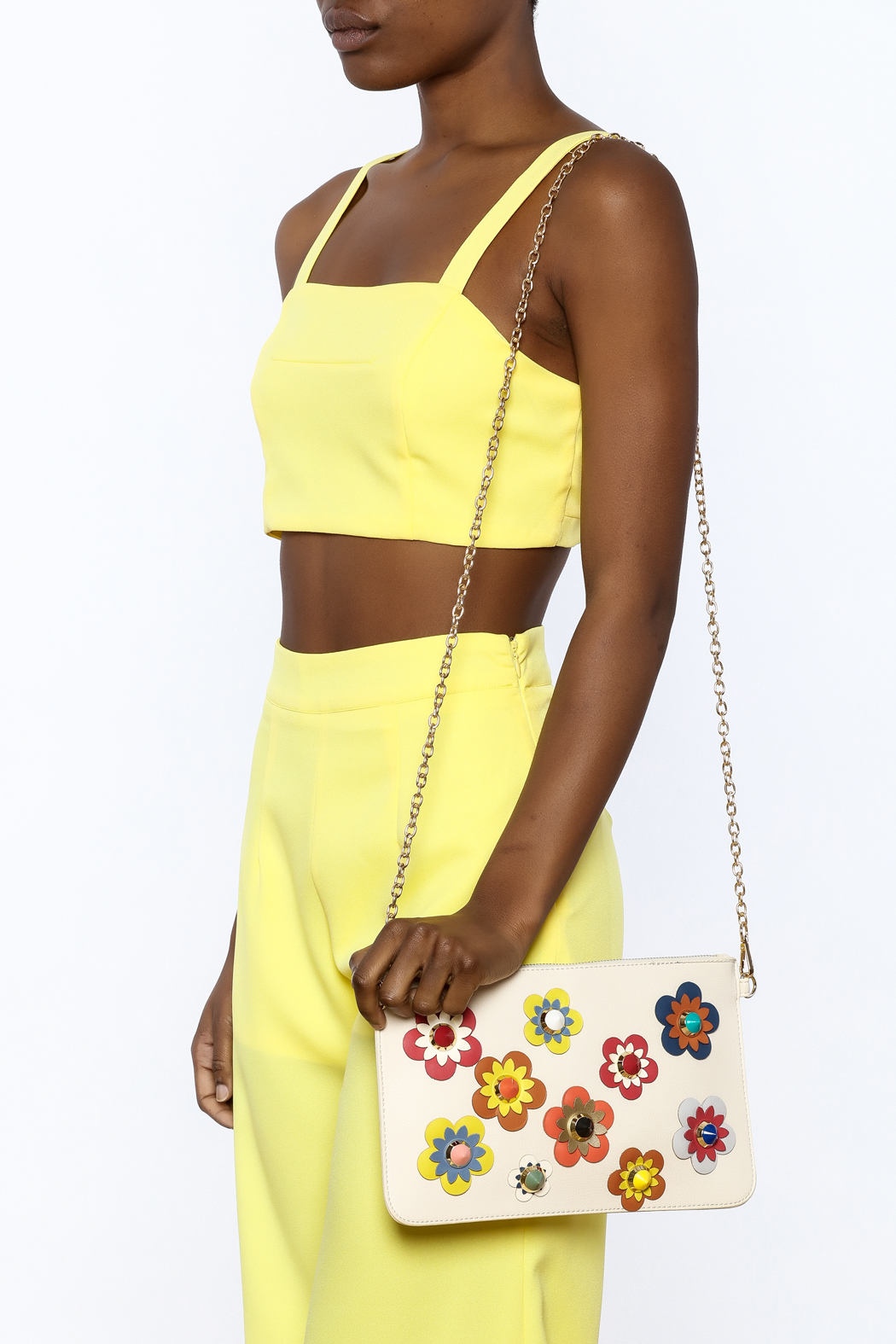 Urban Expressions Flower Embellished Pouch Clutch - Back Cropped Image