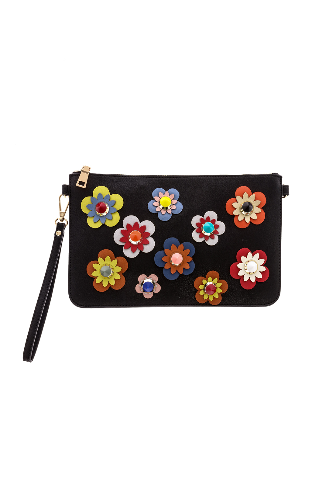 Urban Expressions Flower Embellished Pouch Clutch - Front Cropped Image