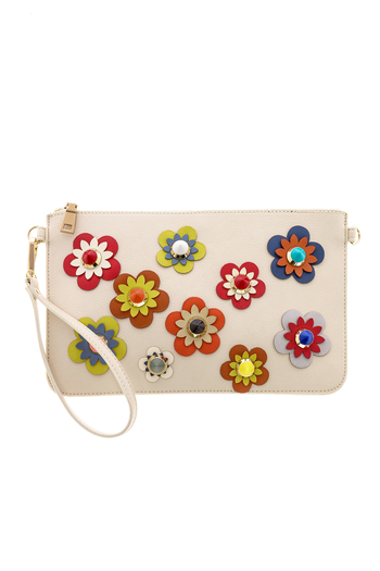 Urban Expressions Flower Embellished Pouch Clutch - Main Image
