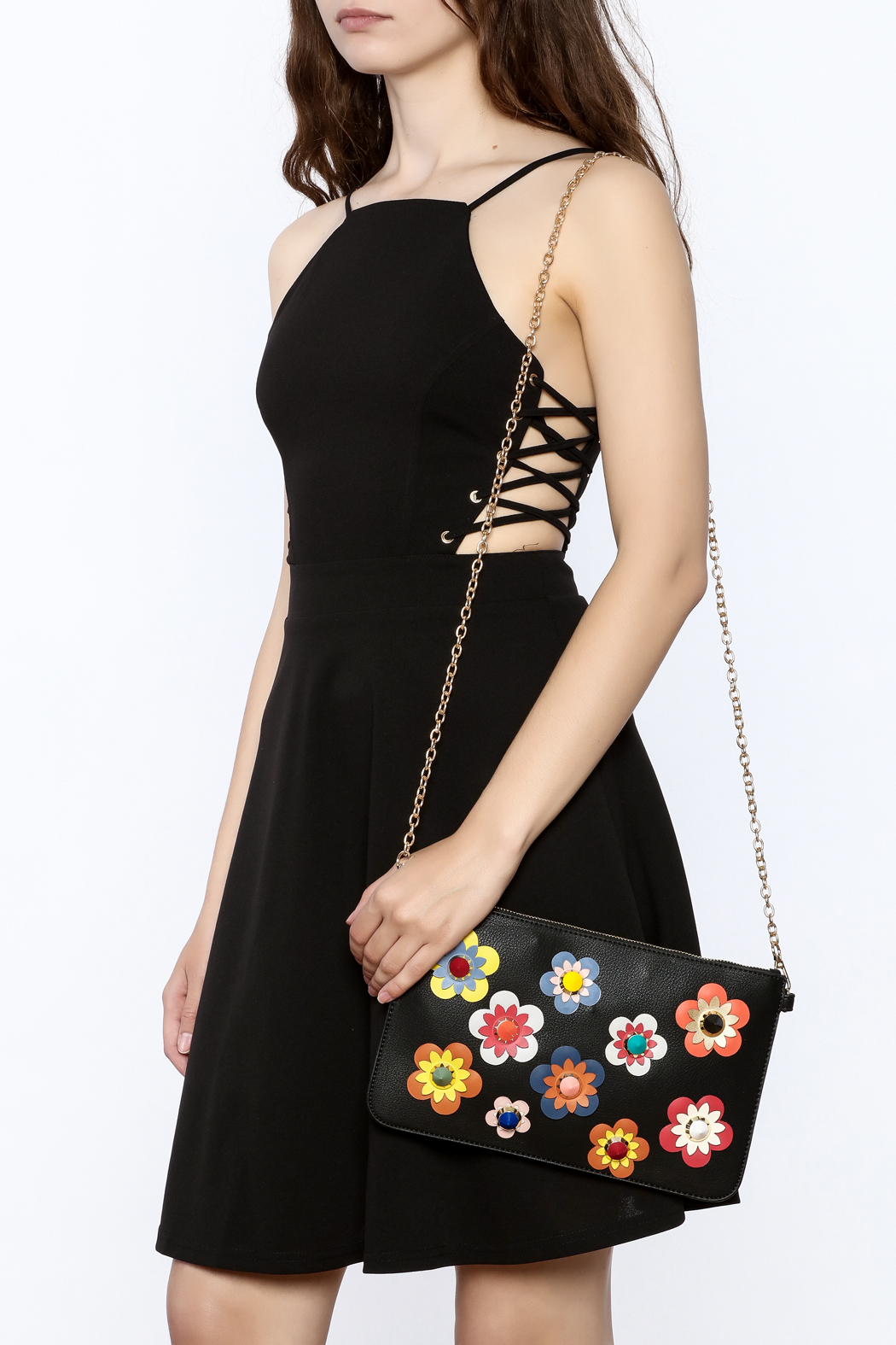 Urban Expressions Flower Embellished Pouch Clutch - Front Full Image