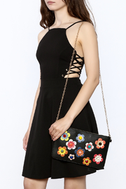 Urban Expressions Flower Embellished Pouch Clutch - Front full body