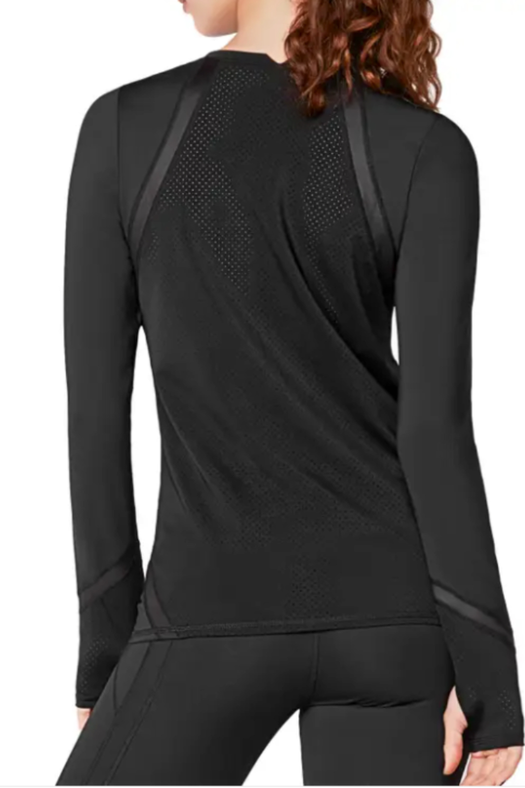 urban savage Urban Savage Grey and Black Long Sleeve work out tee with perforated trim and arm holes at the hem of the sleeve - Front Full Image