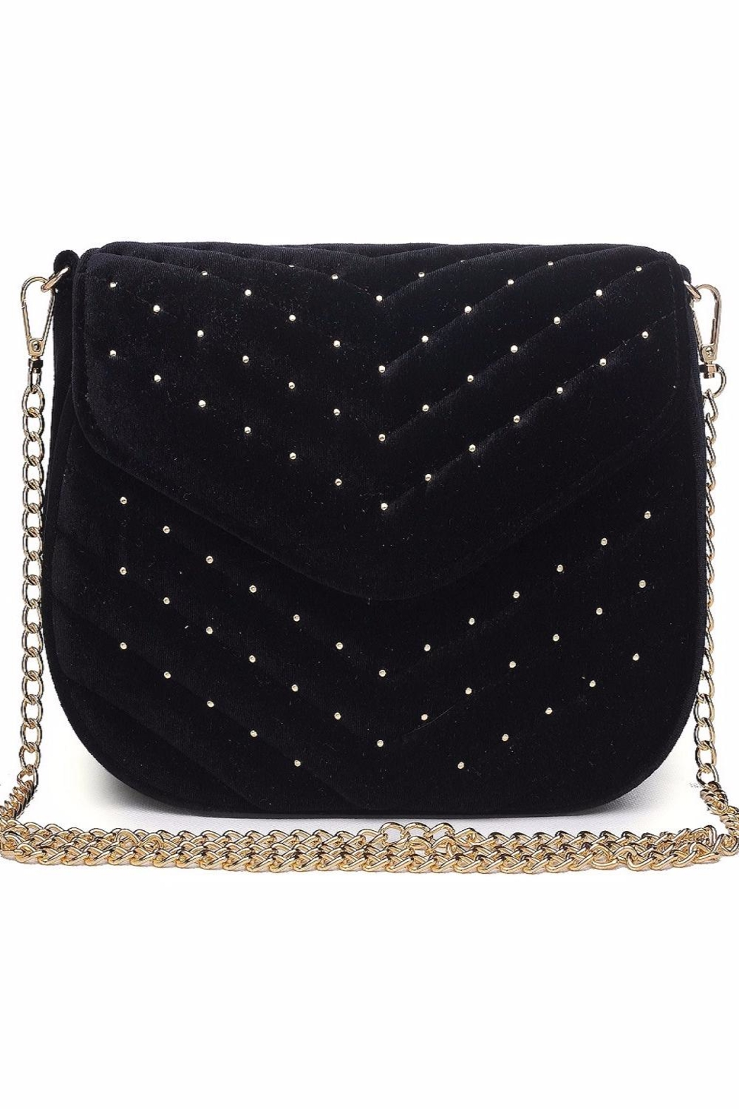 Urban Expressions Studded Velvet Clutch - Front Full Image