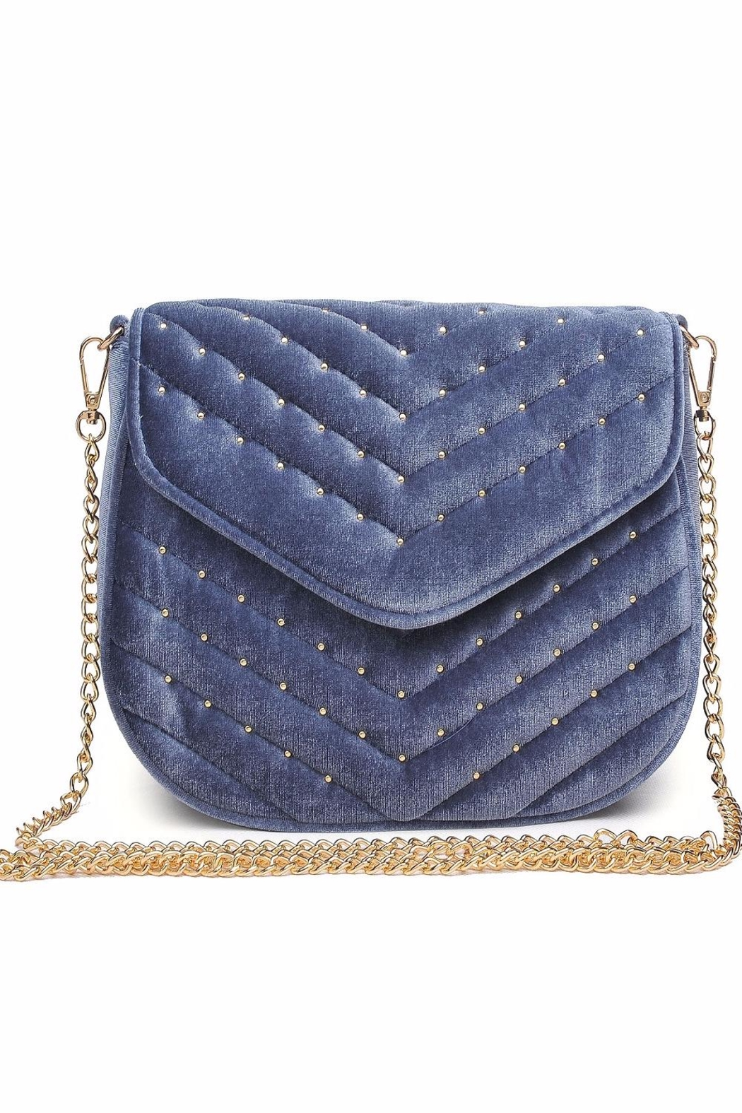 Urban Expressions Studded Velvet Clutch - Front Cropped Image