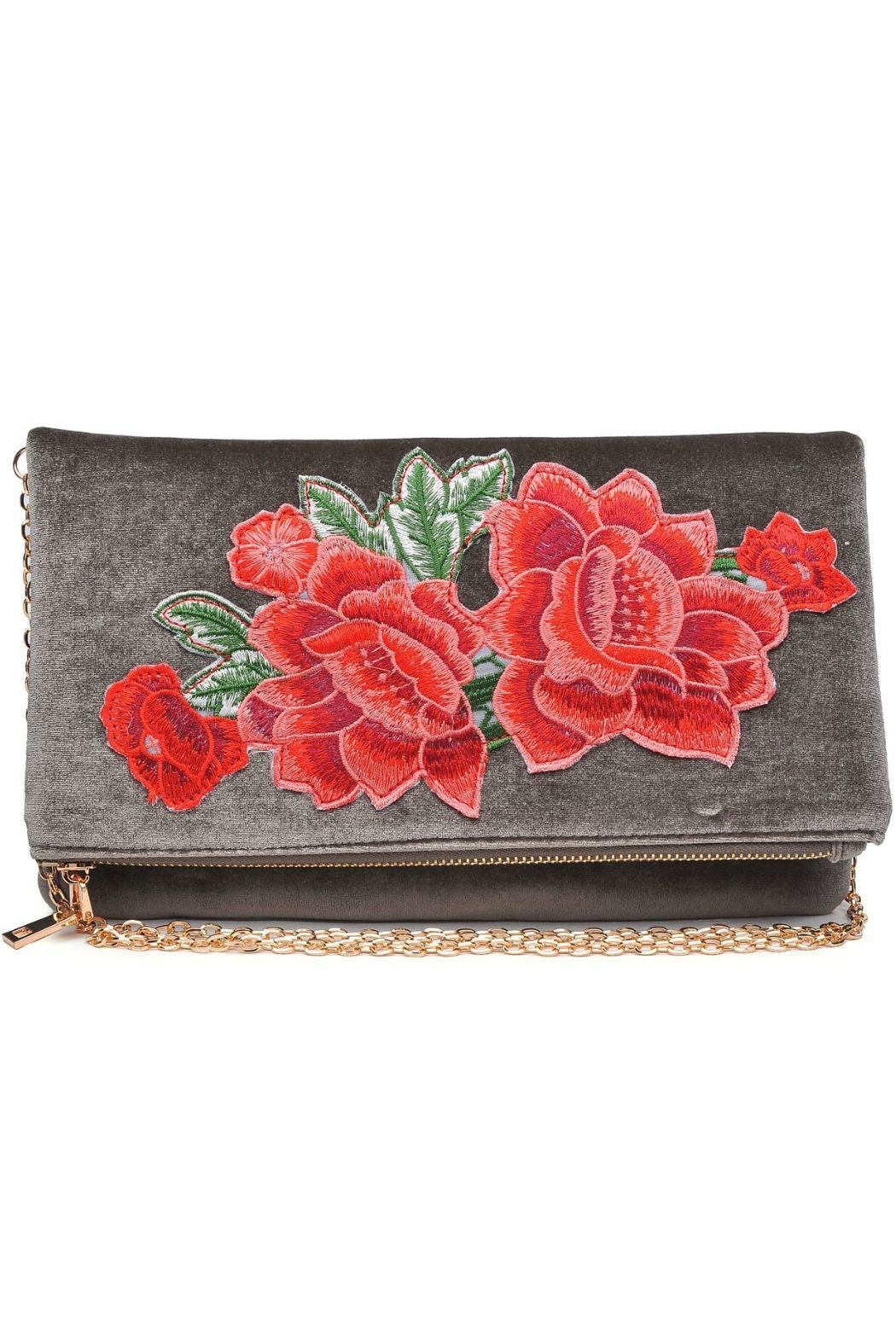 Urban Expressions Velvet Embroidered Clutch - Front Full Image