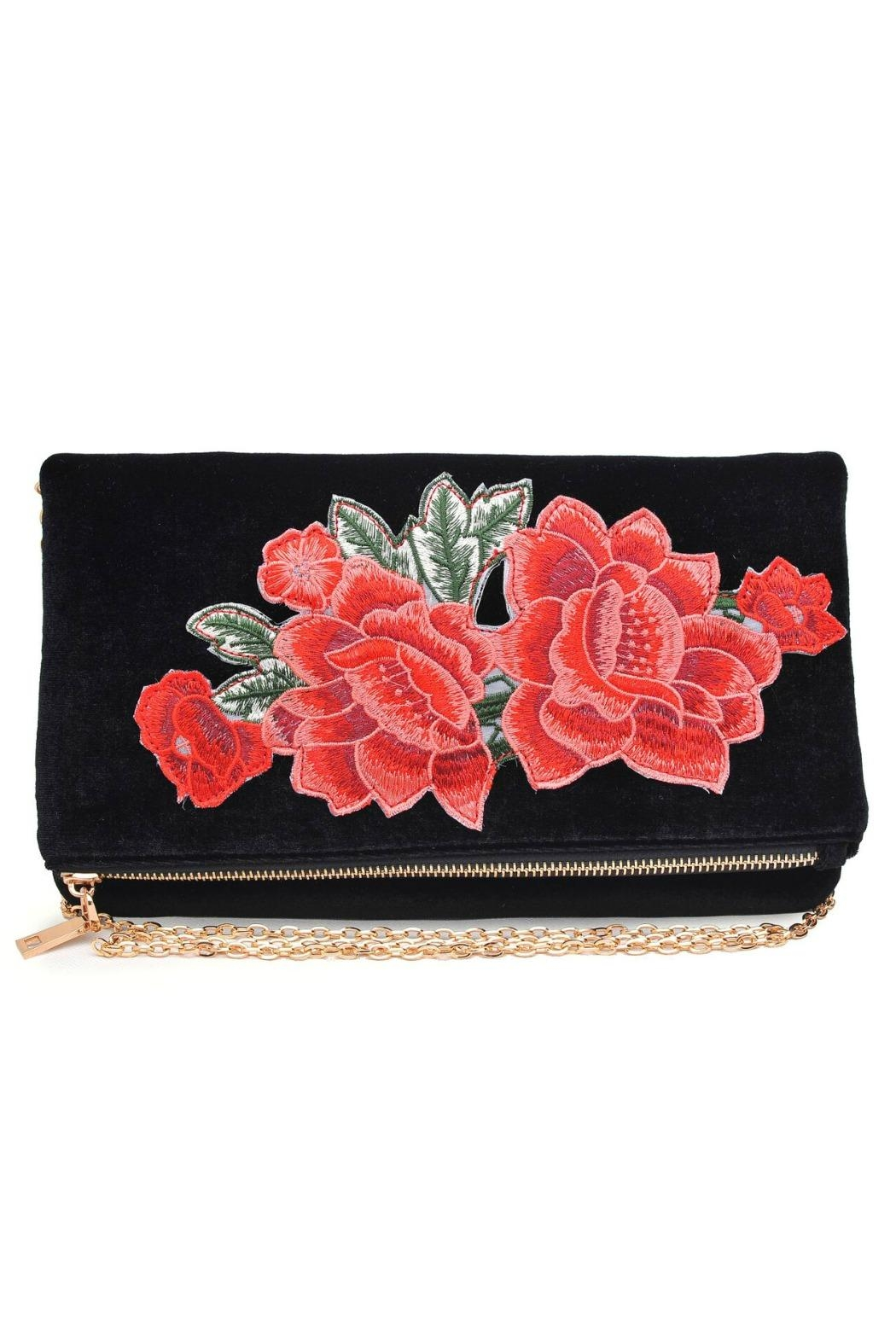 Urban Expressions Velvet Embroidered Clutch - Front Cropped Image