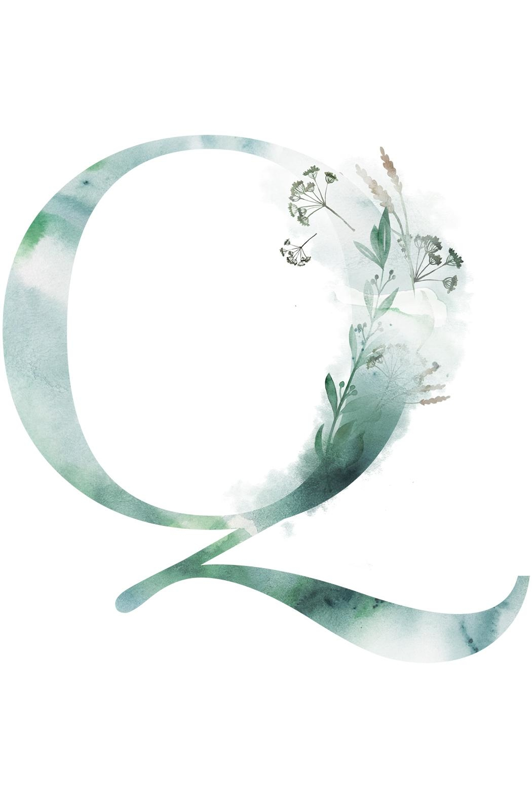 Urban Sassafras Q Watercolor Letter Print - Front Cropped Image