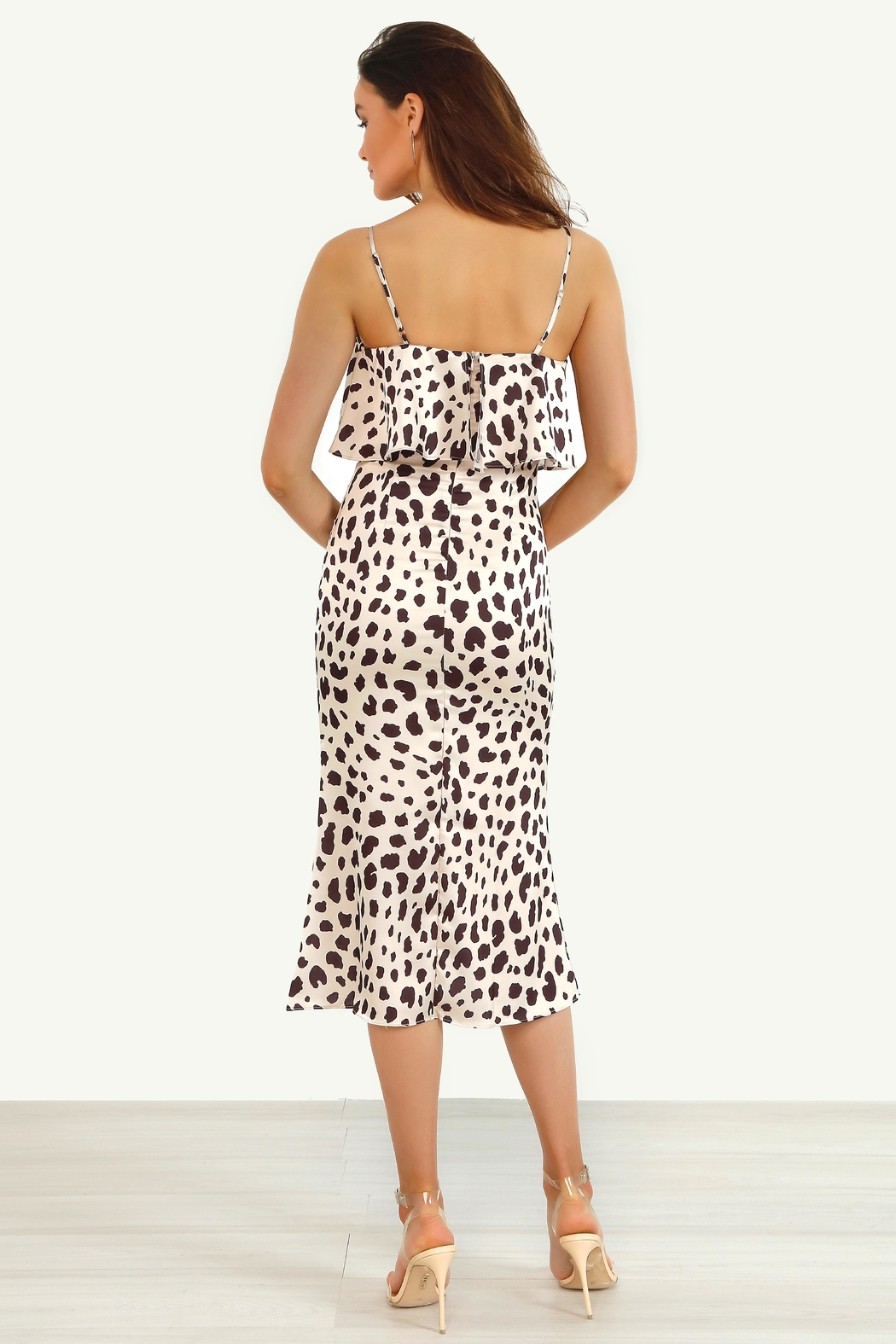 Urban Touch Animal Leopard Print Layered Satin Slip Midi Dress - Side Cropped Image