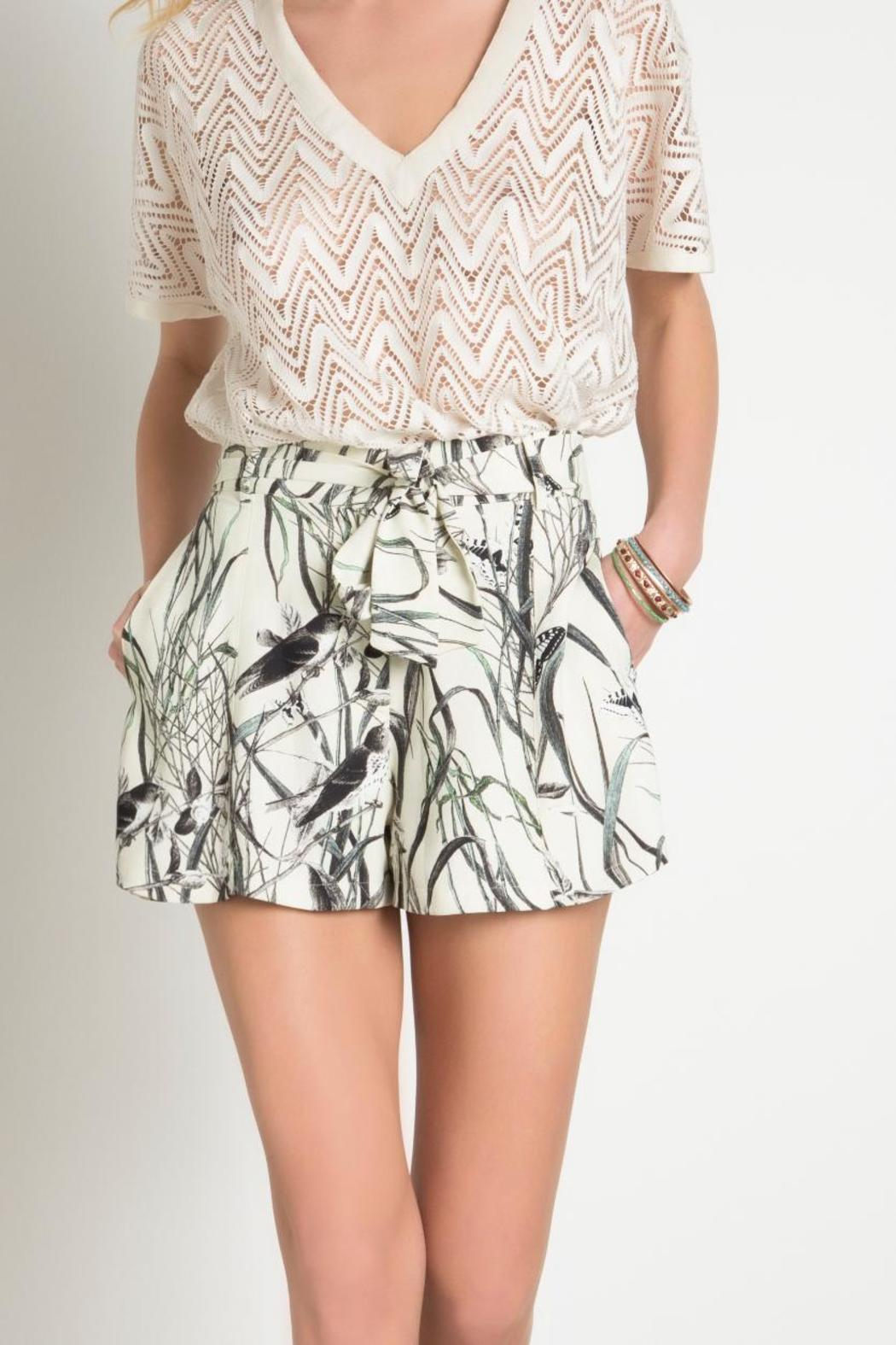 Urban Touch Bird Print Short - Back Cropped Image