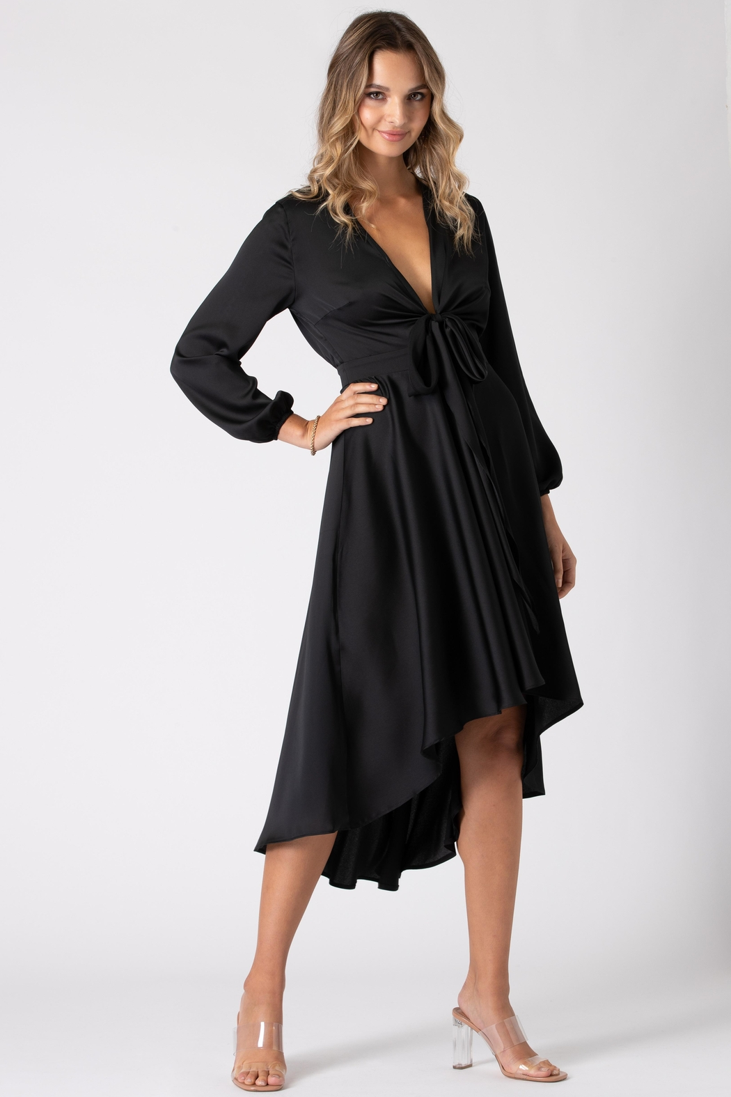 Urban Touch Black Dip Hem Wrap Front Dress With Long Sleeves - Front Cropped Image