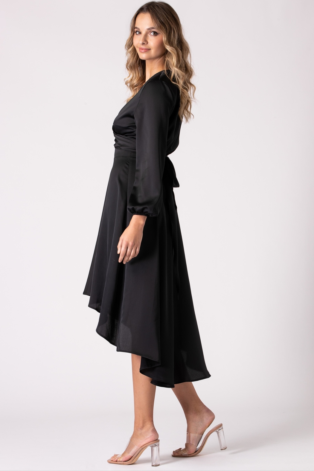 Urban Touch Black Dip Hem Wrap Front Dress With Long Sleeves - Back Cropped Image