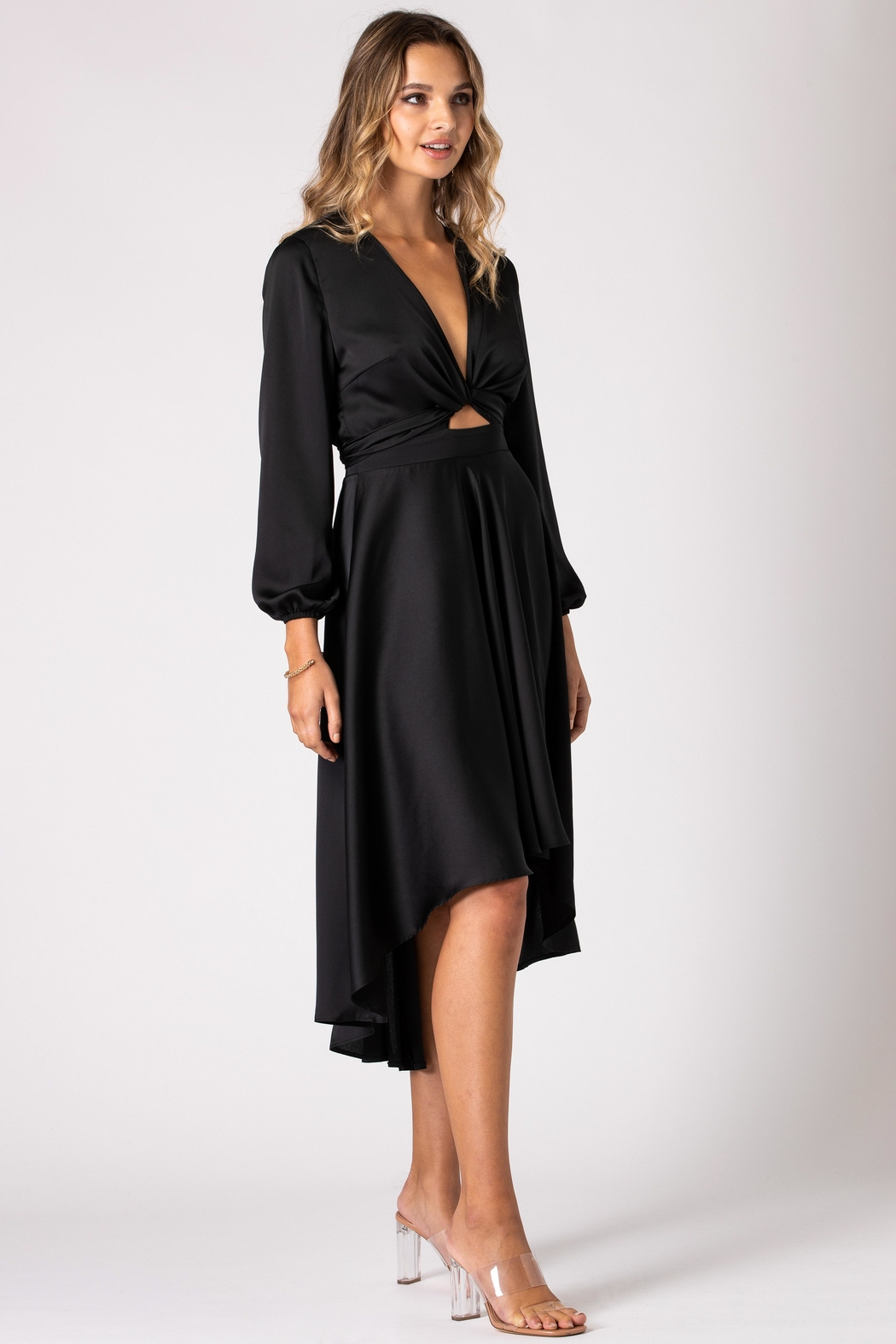 Urban Touch Black Dip Hem Wrap Front Dress With Long Sleeves - Side Cropped Image