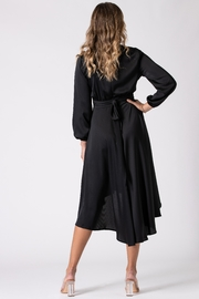 Urban Touch Black Dip Hem Wrap Front Dress With Long Sleeves - Other
