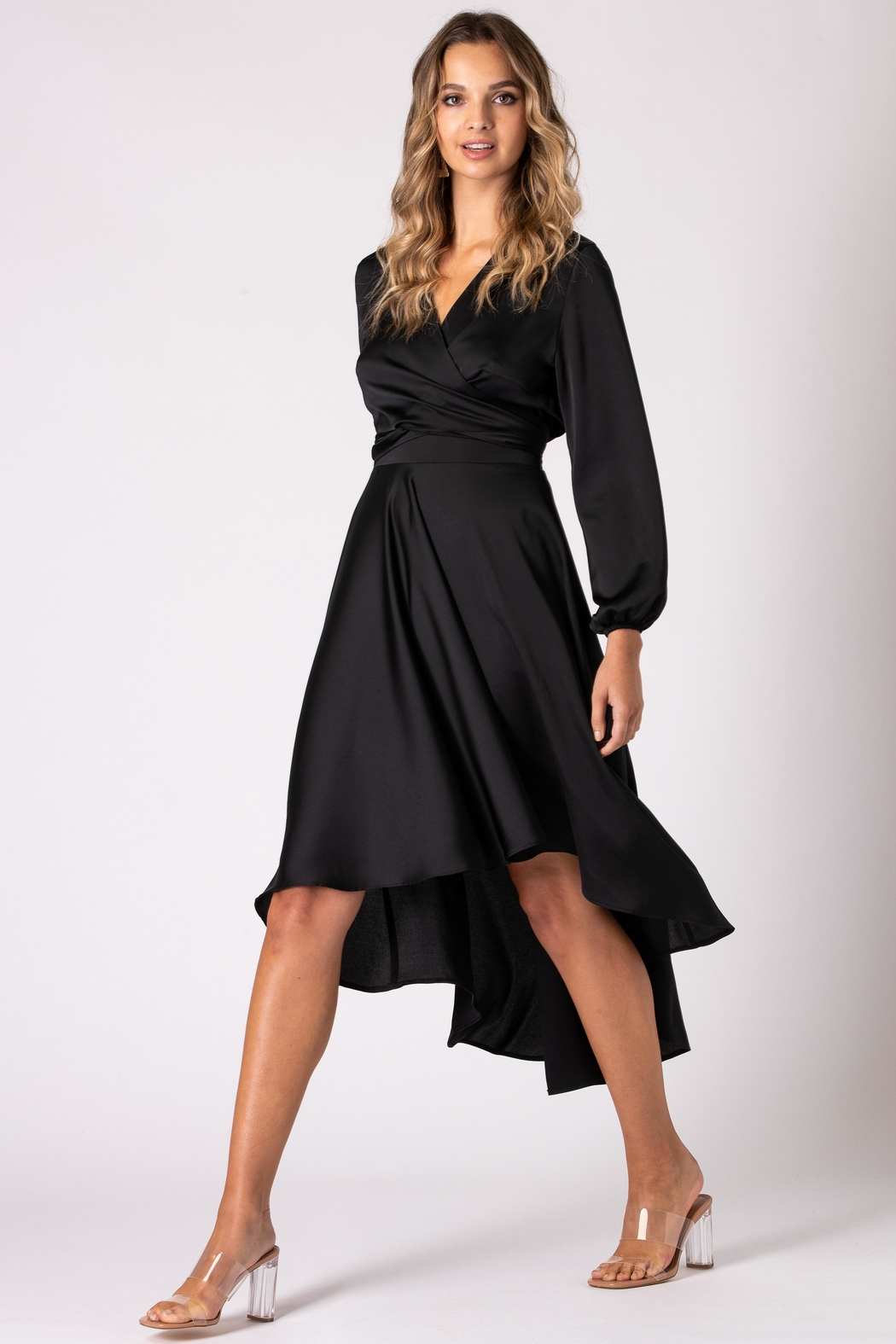 Urban Touch Black Dip Hem Wrap Front Dress With Long Sleeves - Front Full Image