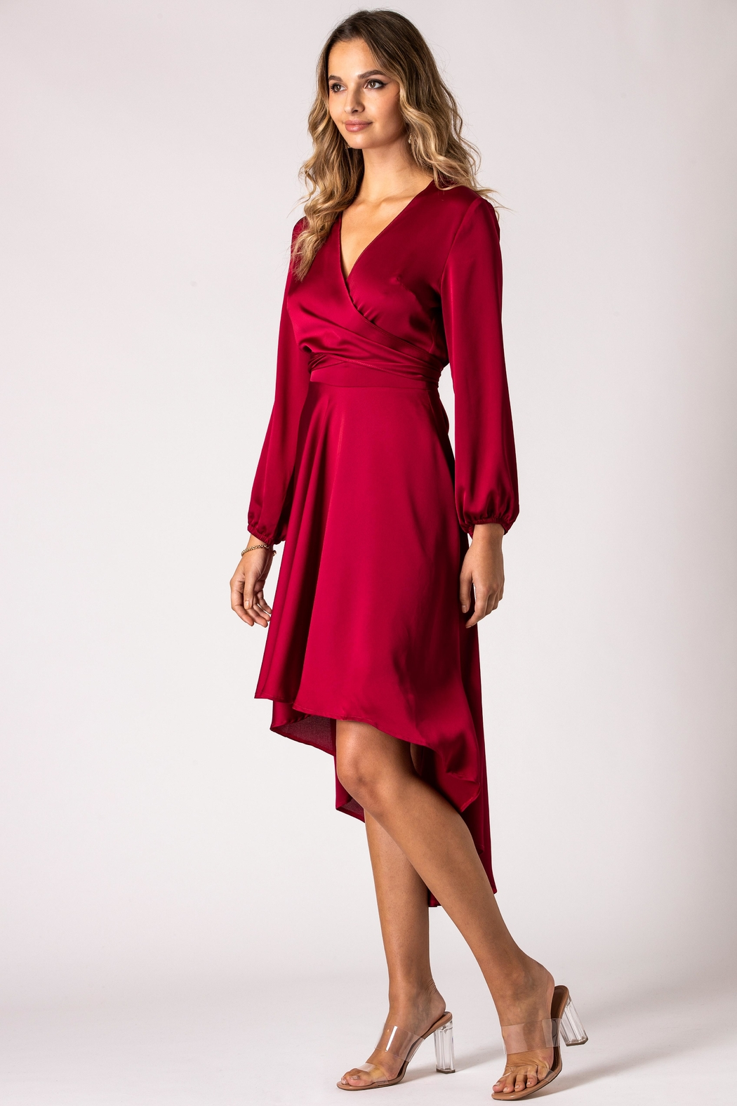 Urban Touch Burgundy Dip Hem Wrap Front Dress With Long Sleeves - Front Full Image