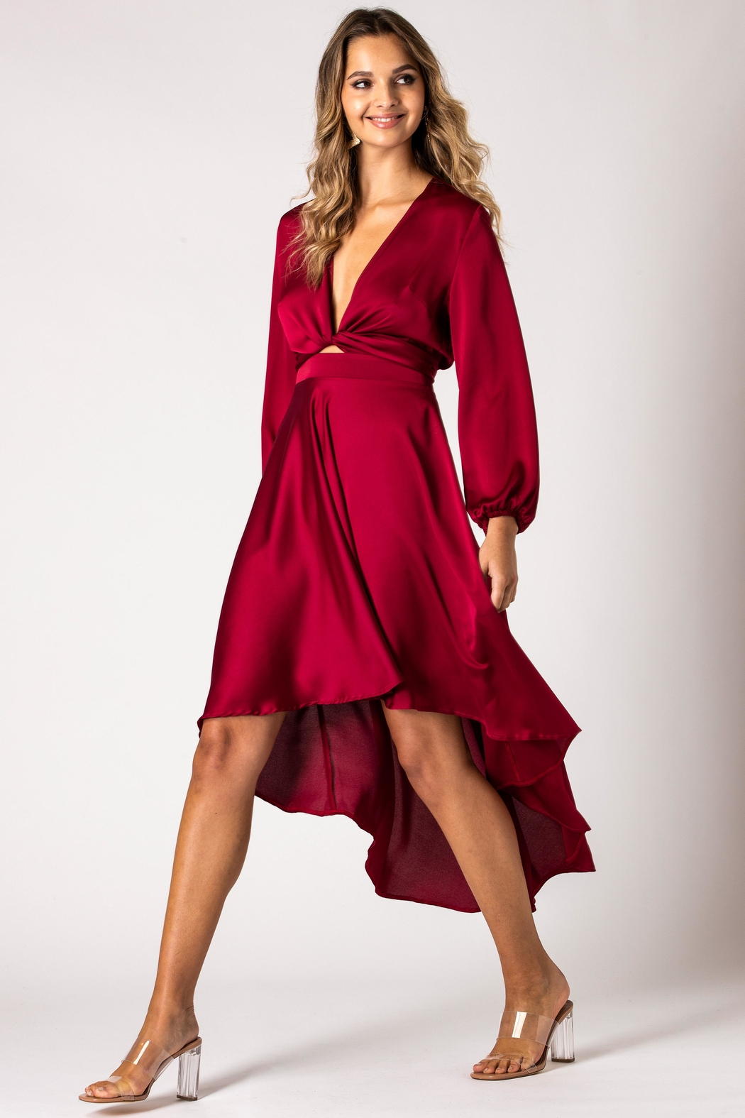 Urban Touch Burgundy Dip Hem Wrap Front Dress With Long Sleeves - Main Image