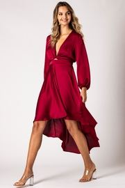 Urban Touch Burgundy Dip Hem Wrap Front Dress With Long Sleeves - Product Mini Image