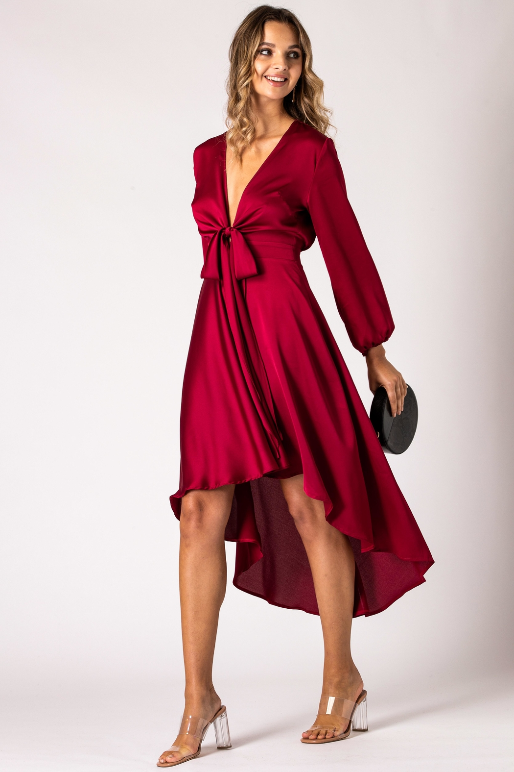 Urban Touch Burgundy Dip Hem Wrap Front Dress With Long Sleeves - Back Cropped Image