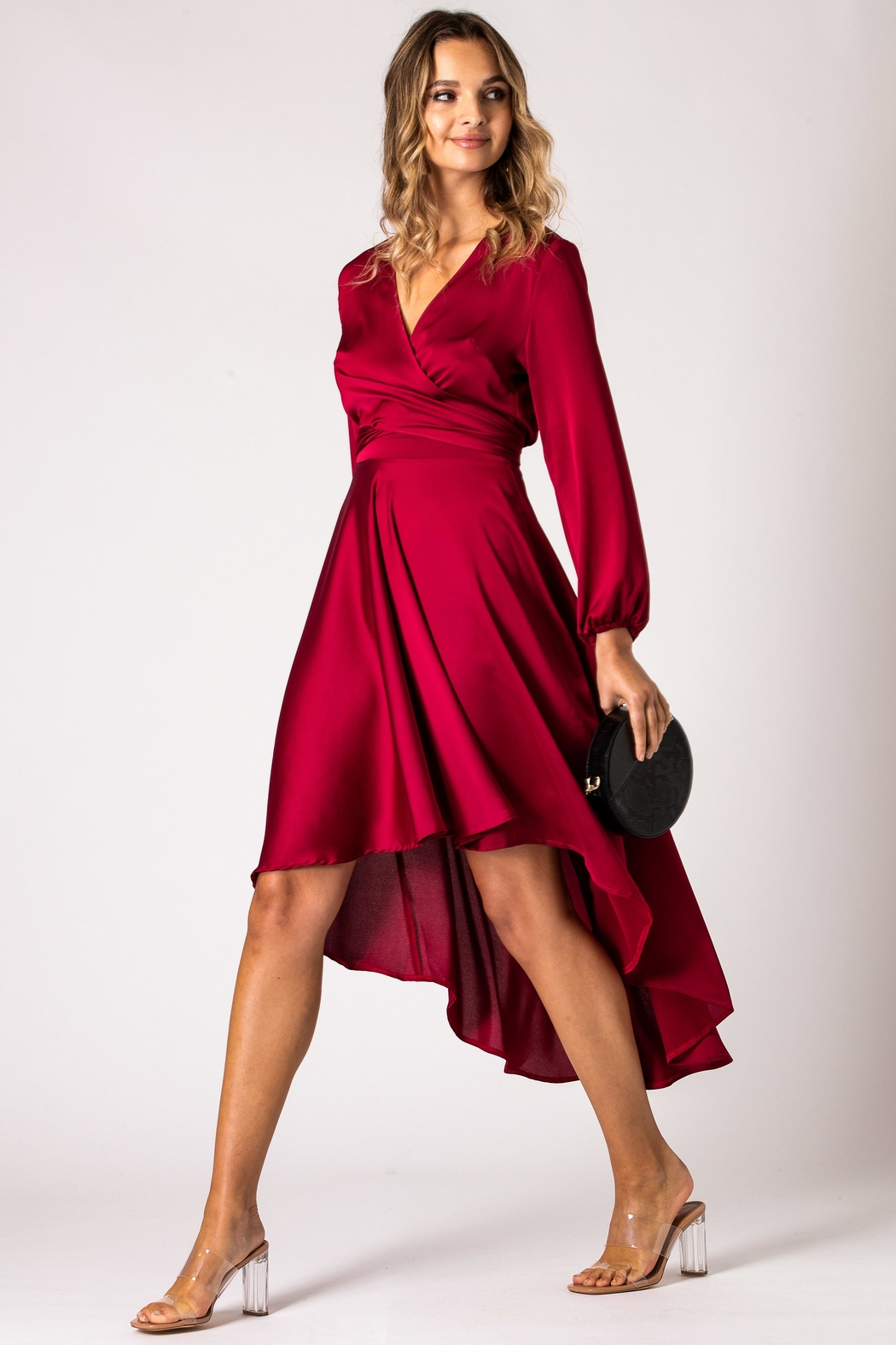 Urban Touch Burgundy Dip Hem Wrap Front Dress With Long Sleeves - Side Cropped Image
