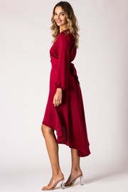 Urban Touch Burgundy Dip Hem Wrap Front Dress With Long Sleeves - Other