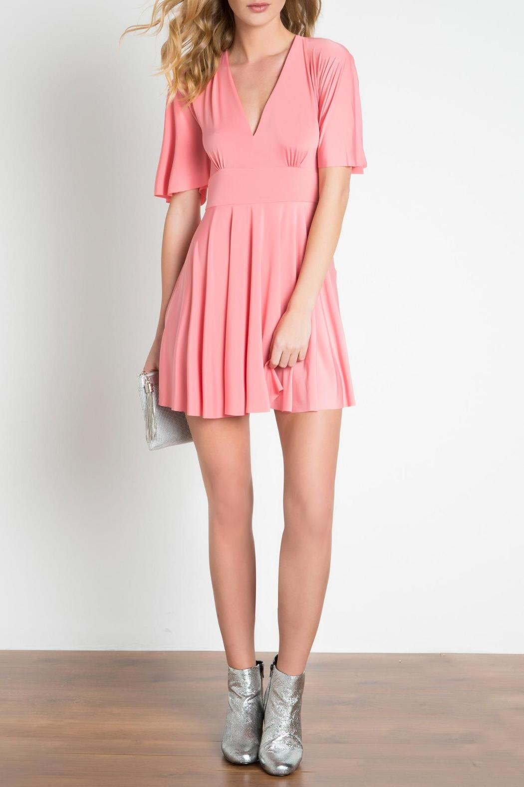 Urban Touch Coral Skater Dress - Front Full Image