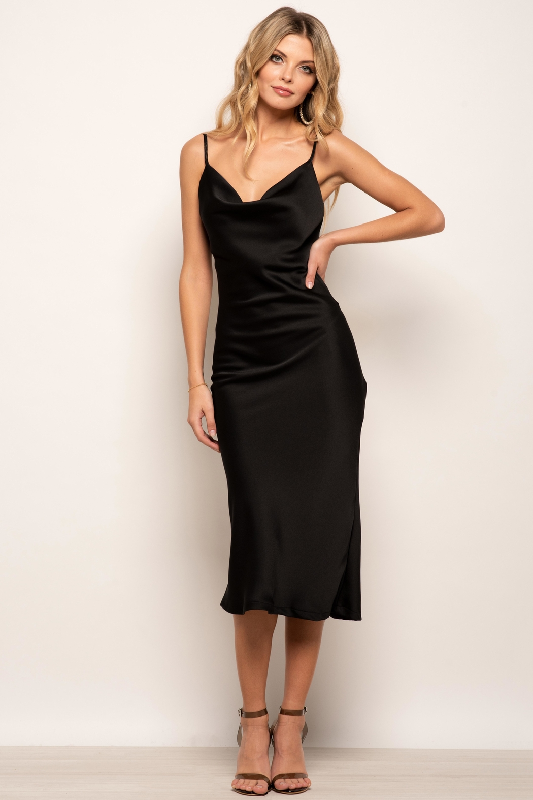 Urban Touch Cowl Neck Satin Slip Cami Midi Dress In Black - Main Image
