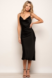 Urban Touch Cowl Neck Satin Slip Cami Midi Dress In Black - Front cropped