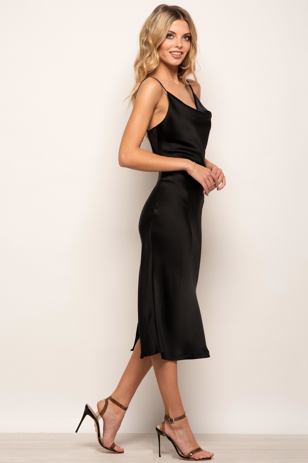 Urban Touch Cowl Neck Satin Slip Cami Midi Dress In Black - Front Full Image