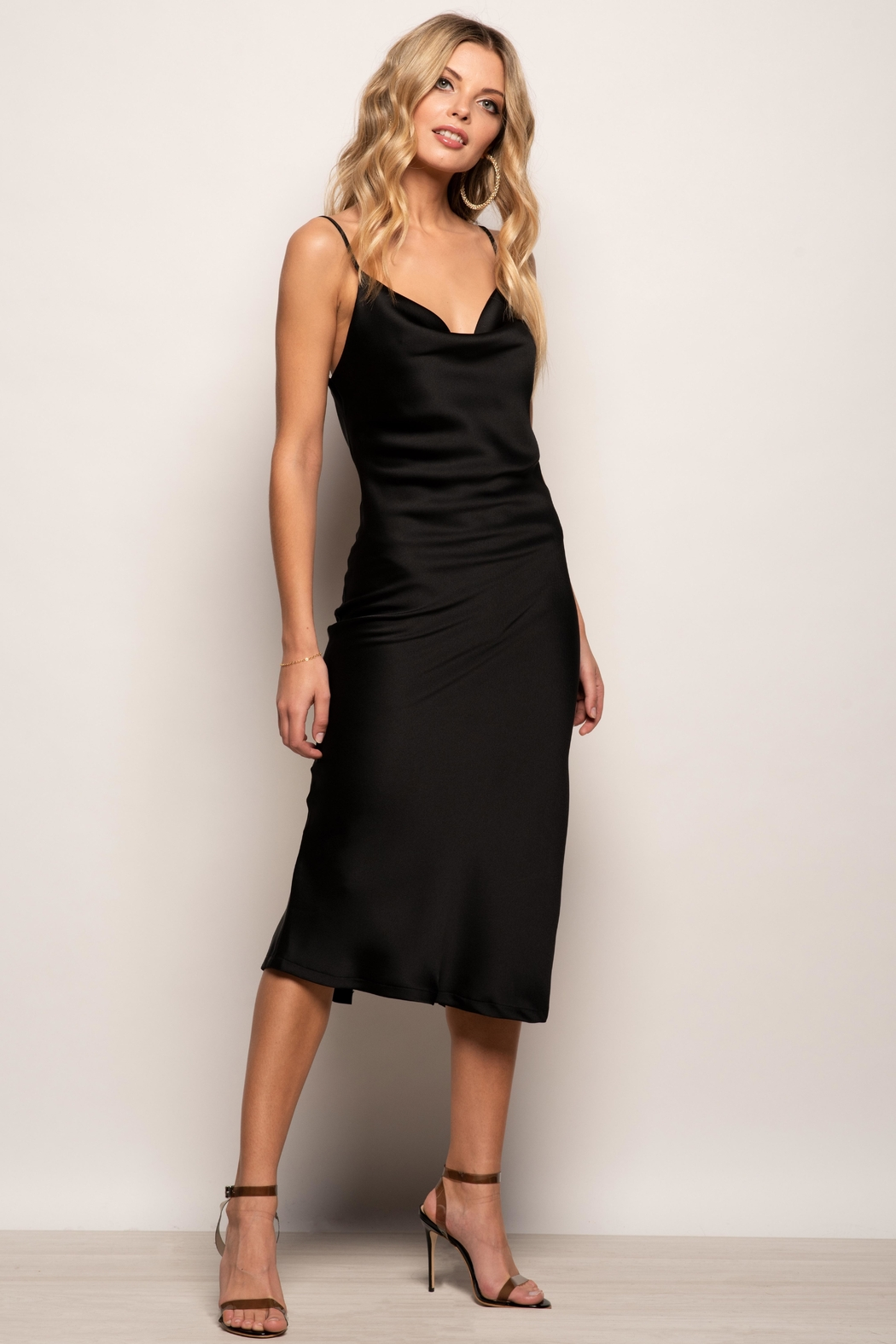 Urban Touch Cowl Neck Satin Slip Cami Midi Dress In Black - Side Cropped Image