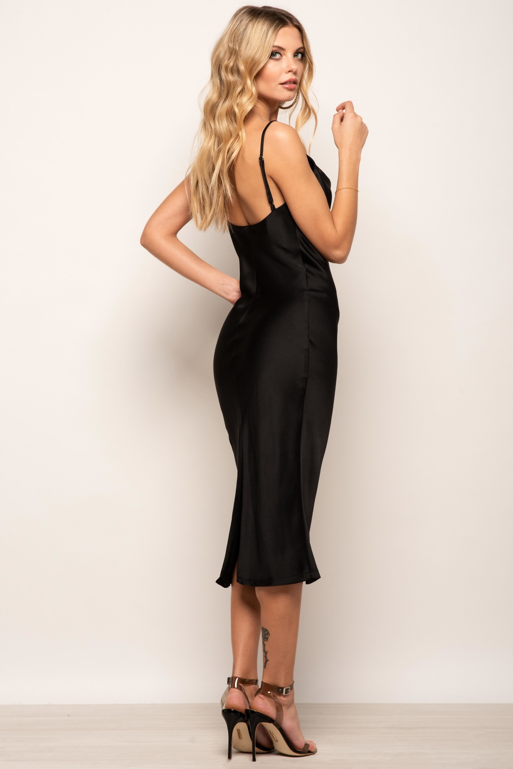 Urban Touch Cowl Neck Satin Slip Cami Midi Dress In Black - Back Cropped Image