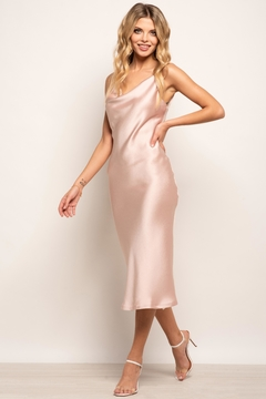 Urban Touch Cowl Neck Satin Slip Cami Midi Dress In Blush - Product List Image